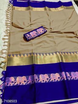 Rajawadi Elegant Elephant Design Cotton Silk Saree (Chiku & Ink Blue)