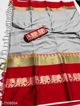 Rajawadi Elegant Elephant Design Cotton Silk Saree (Silver Grey & Red)