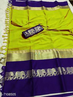Rajawadi Elegant Elephant Design Cotton Silk Saree (Lemon Green & Navy Blue)