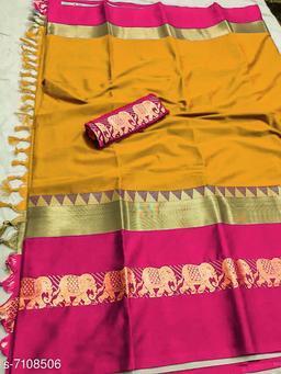 Rajawadi Elegant Elephant Design Cotton Silk Saree (Mango & Pink)