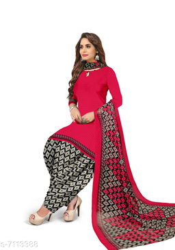 Blissta Women's Red Crepe Printed Unstitched Salwar Suit Dress Material