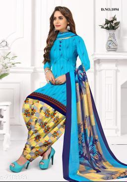 Blissta Women's Sky Blue Crepe Printed Unstitched Salwar Suit Dress Material