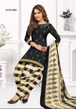Blissta Women's Black Crepe Printed Unstitched Salwar Suit Dress Material