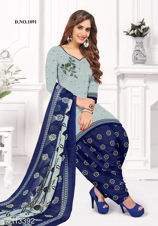 Blissta Women's Grey Crepe Printed Unstitched Salwar Suit Dress Material