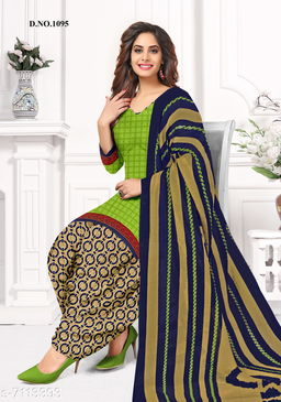 Blissta Women's Light Green Crepe Printed Unstitched Salwar Suit Dress Material