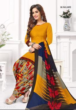 Blissta Women's Mustard Crepe Printed Unstitched Salwar Suit Dress Material