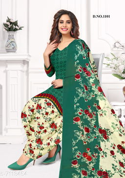 Blissta Women's Green Crepe Printed Unstitched Salwar Suit Dress Material