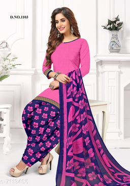 Blissta Women's Pink Crepe Printed Unstitched Salwar Suit Dress Material