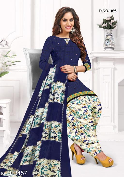 Blissta Women's Navy Blue Crepe Printed Unstitched Salwar Suit Dress Material