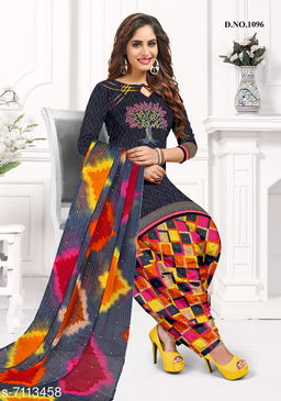 Blissta Women's Colorful Crepe Printed Unstitched Salwar Suit Dress Material
