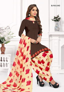 Blissta Women's Brown Crepe Printed Unstitched Salwar Suit Dress Material