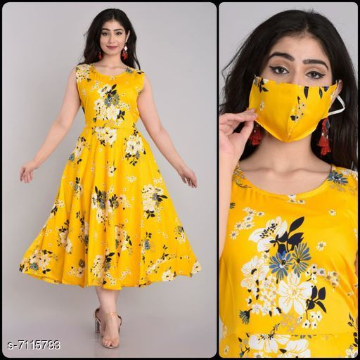 Women's Printed Yellow Crepe Dress