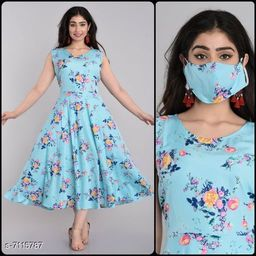 Women's Printed Aqua Blue Crepe Dress