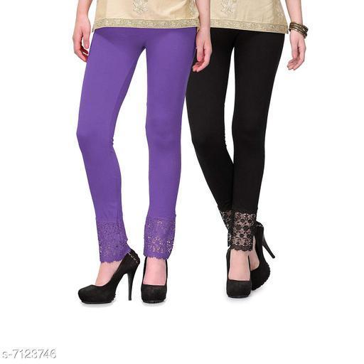 Pixie Women's Fabric Bottom Lace Leggings (Purple and Black, Free Size)