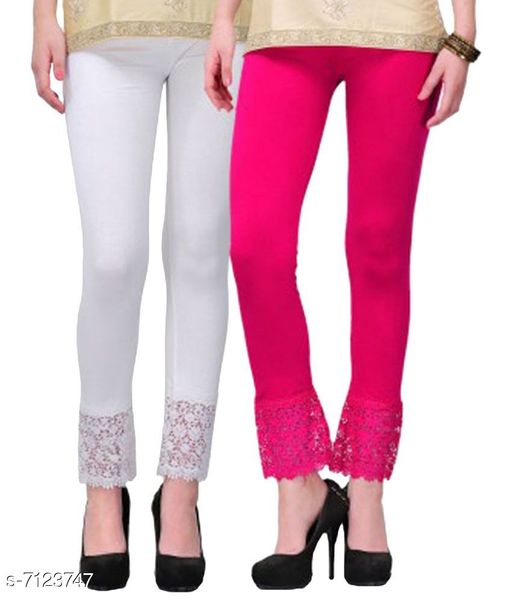 Pixie Women's Fabric Bottom Lace Leggings (White and Red, Free Size)