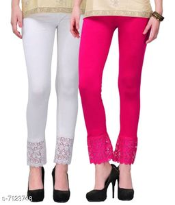 Pixie Women's Fabric Bottom Lace Leggings (Pink and White, Free Size)