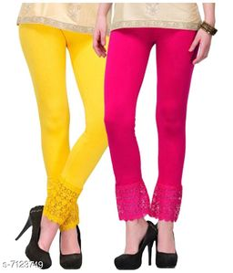 Pixie Women's Fabric Bottom Lace Leggings (Pink and Yellow, Free Size)