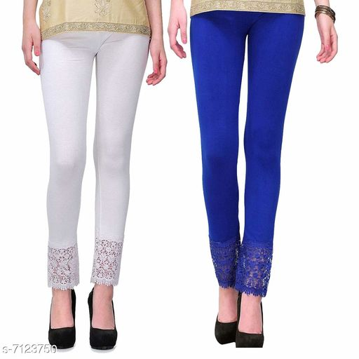 Pixie Women's Fabric Bottom Lace Leggings (Blue and White, Free Size)