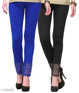 Pixie Women's Fabric Bottom Lace Leggings (Black and Blue, Free Size)