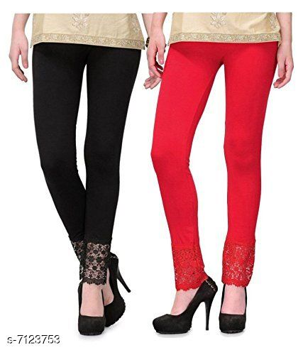 Pixie Women's Fabric Bottom Lace Leggings (Black and Red, Free Size)