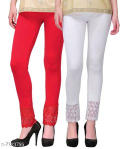 Pixie Women's Fabric Bottom Lace Leggings (Red and White, Free Size)