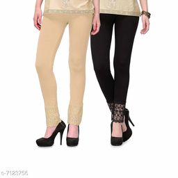 Pixie Women's Fabric Bottom Lace Leggings (Beige and Black, Free Size)