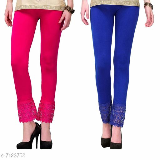Pixie Women's Fabric Bottom Lace Leggings (Pink and Blue, Free Size)