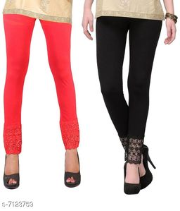 Pixie Women's Fabric Bottom Lace Leggings (Orange and Black, Free Size)