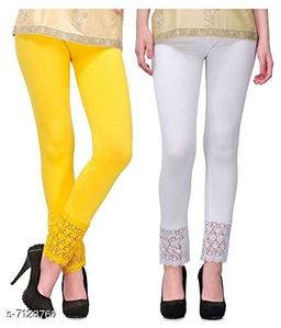 Pixie Women's Fabric Bottom Lace Leggings (Yellow and White, Free Size)