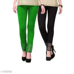 Pixie Women's Fabric Bottom Lace Leggings (Green and Black, Free Size)