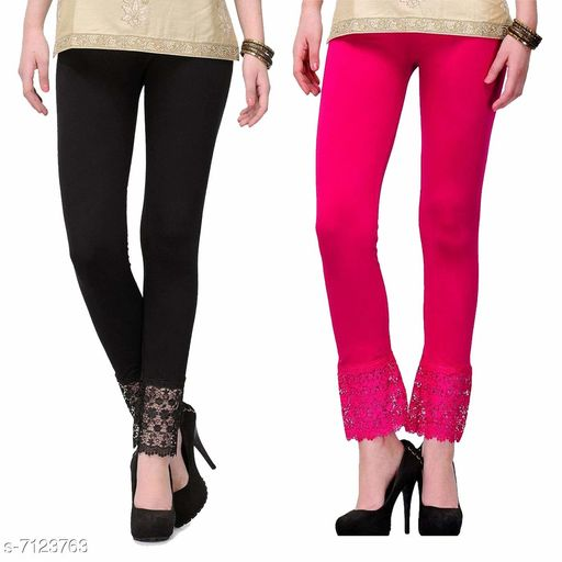 Pixie Women's Fabric Bottom Lace Leggings (Pink and Black, Free Size)
