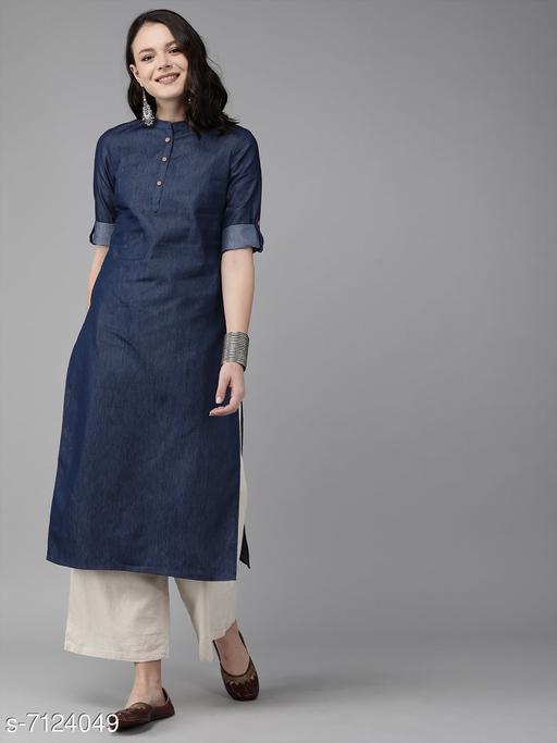 Satguru Fabric Blue Cotton Straight Kurti