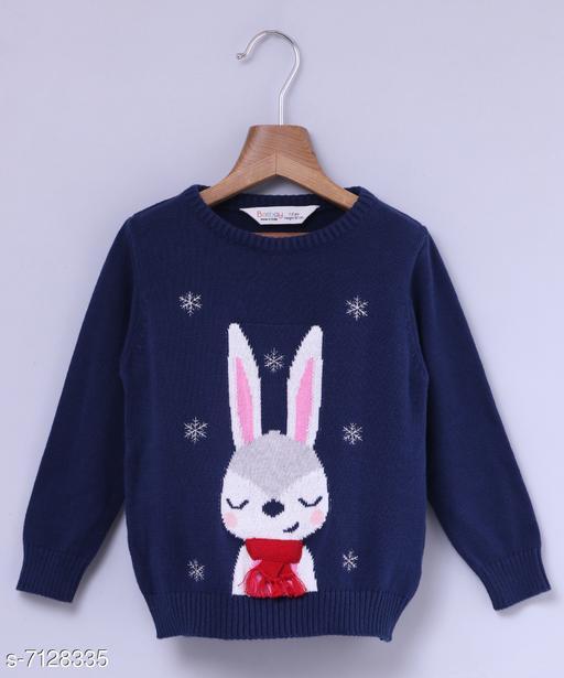 Beebay Girls Bunny Crew Neck Sweater (Navy)