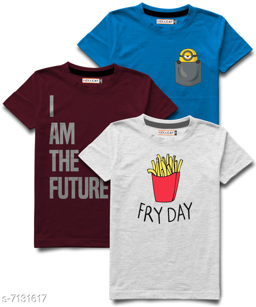 Hellcat stylish Boys Round Neck Tshirts Pack of 3