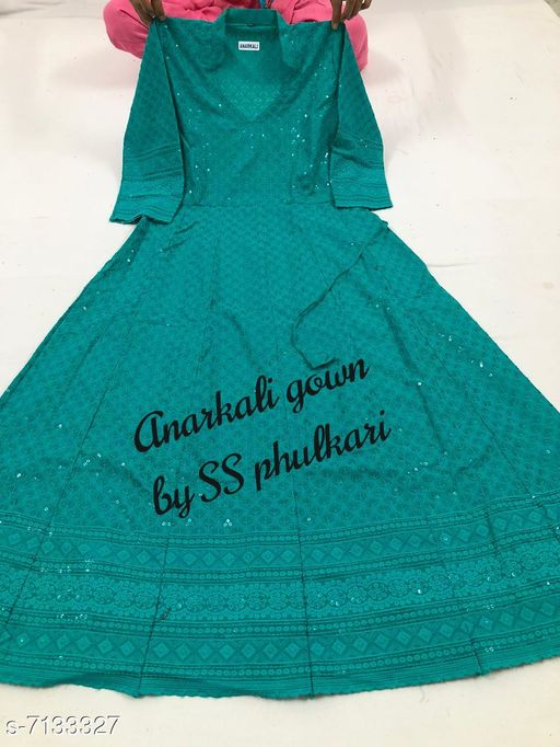 Women Cotton Anarkali Chikankari Sequinned Kurti