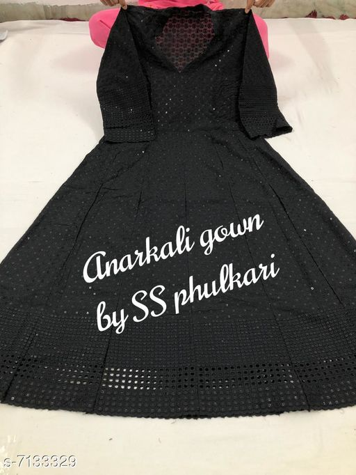 Women's Chikankari Cotton Long Anarkali Kurti