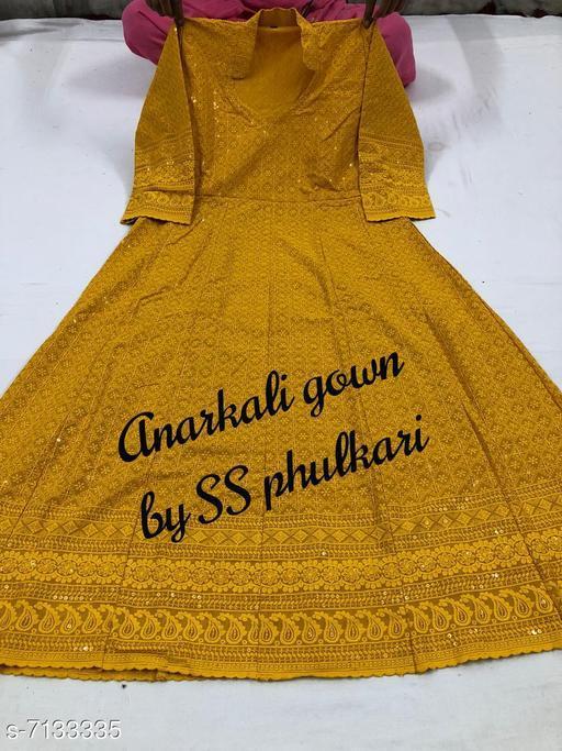 Women Cotton Anarkali Chikankari Mustard Kurti