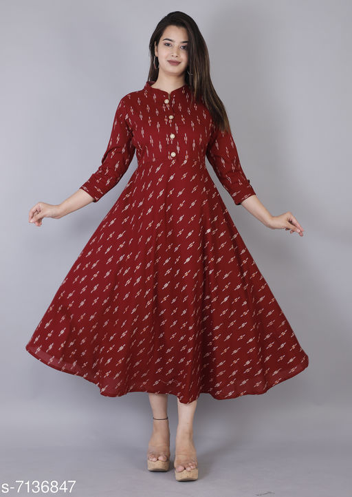 Women Cotton Cambric Anarkali Gown