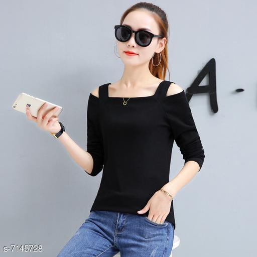 Women's Solid Black Cotton Blend Top