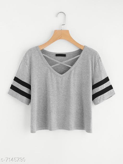 Women's Solid Grey Cotton Blend Top