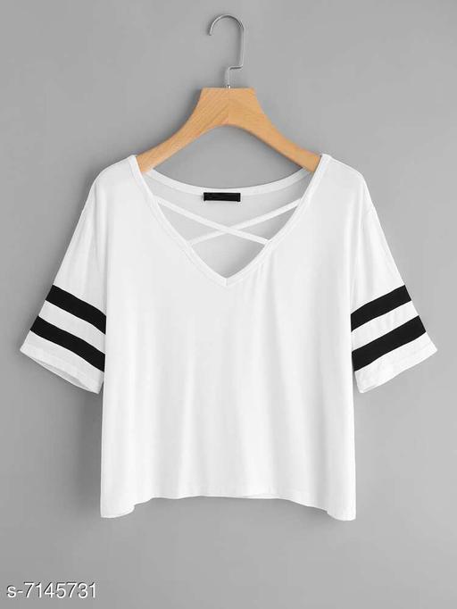 Women's Printed White Cotton Blend Top