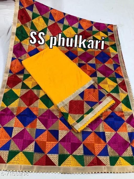 Cotton Suit Fabric With 8 Col Combination Phulkari Dupatta