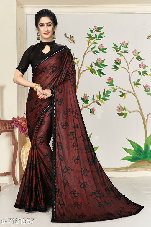 Shubh SanidhyaWomen's Lycra Foil Print Green Party Wear Saree With Blouse Piece (SR-10135-Maroon)