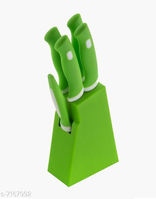 Plastic Knife Stand + 4 Knife + 1 Peeler