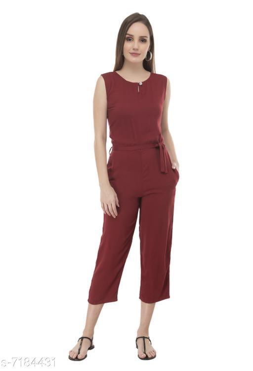 Arovi Red Color Rayon Fabric Regular Wear Jump Suit
