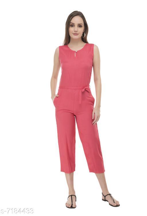 Arovi Orange Color Rayon Fabric Regular Wear Jump Suit