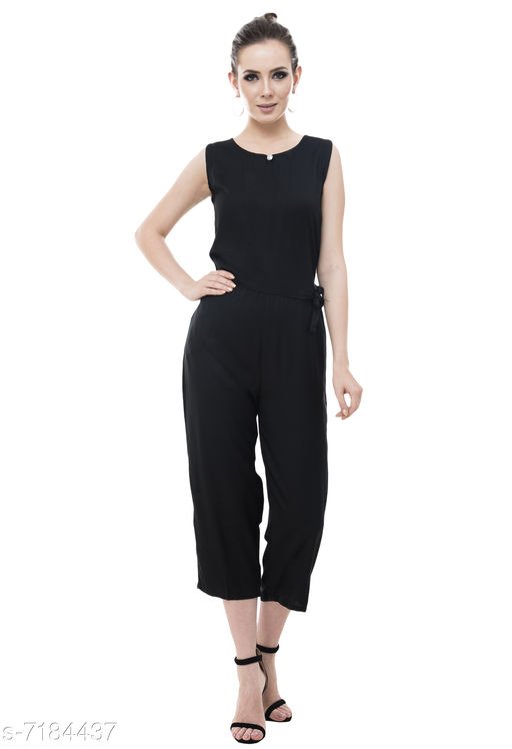 Arovi Black Color Rayon Fabric Regular Wear Jump Suit