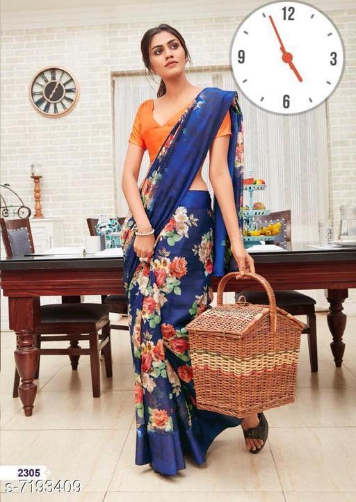Divaastha Blue Linen Printed Bollywood Saree  ( HFHELUMLINENBLUE )