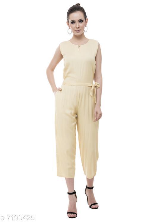 Arovi Beige Color Rayon Fabric Regular Wear Jump Suit