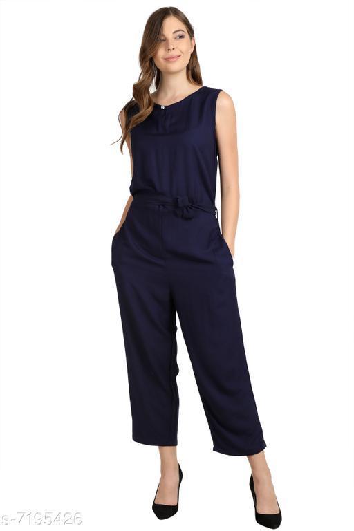 Arovi Navy Blue Color Rayon Fabric Regular Wear Jump Suit
